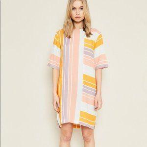Pink, Purple, Yellow and White Striped Dress